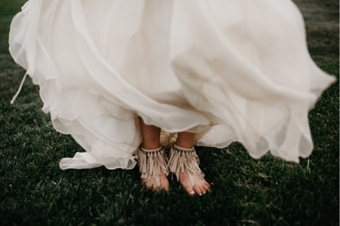 boho wedding shoe shot