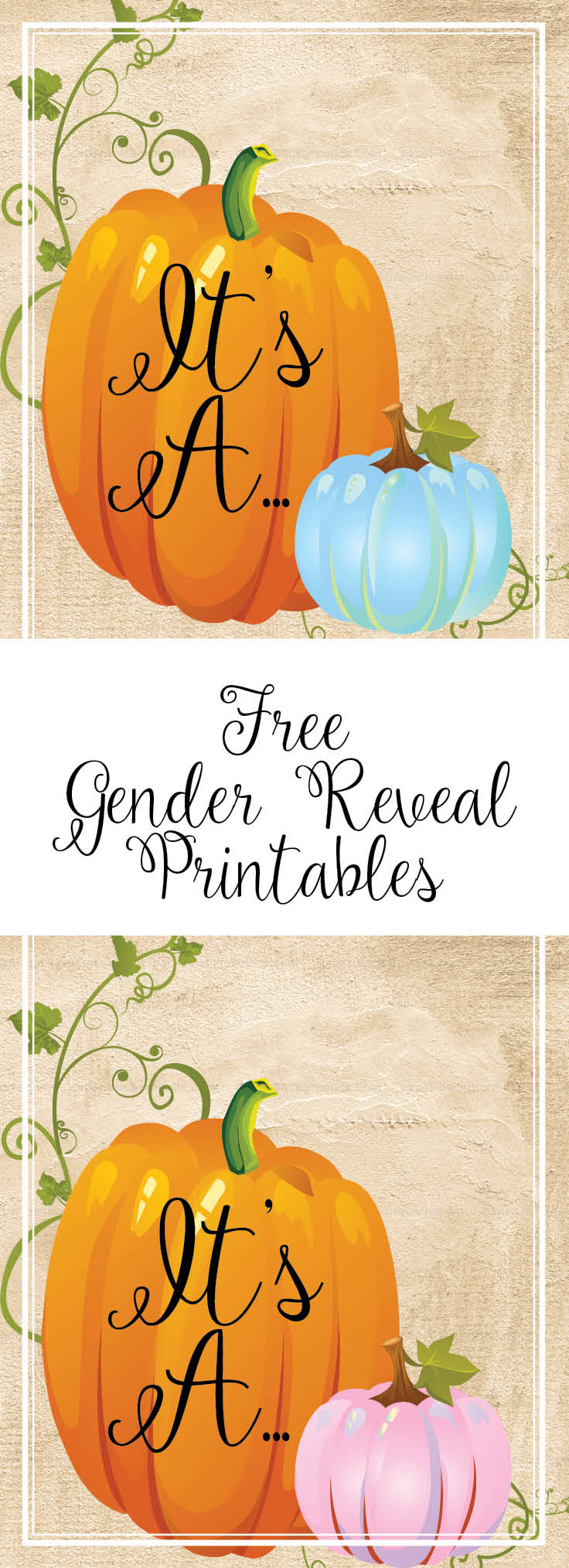 Free Fall Gender Reveal Printables