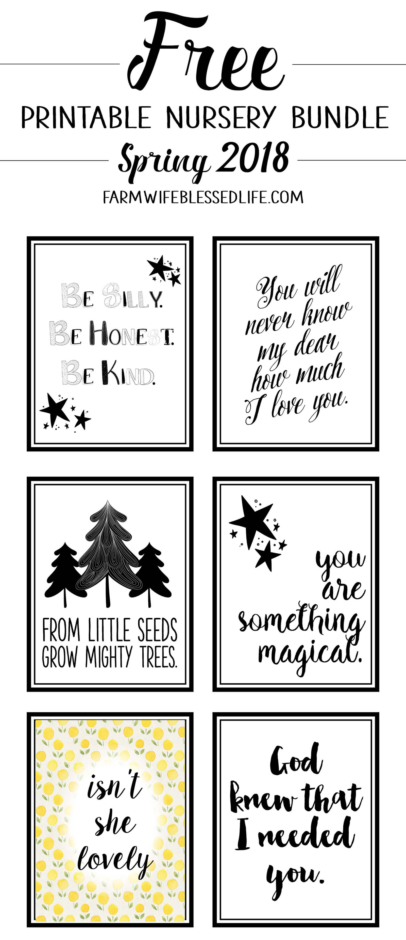 Free Nursery Printables Spring 2018 Farm Wife Blessed Life